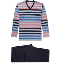 Zimmerli Striped Cotton Pyjama Set Blue