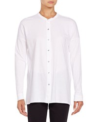 Eileen Fisher Hi Lo Button Front Shirt White
