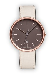 Uniform Wares M38 Women's Date Watch In Pvd Rose Gold With Mist Textured Calf Brown