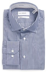 Calibrate Men's Big And Tall Trim Fit Stripe Dress Shirt Navy Charcoal