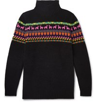 The Elder Statesman Intarsia Cashmere Rollneck Sweater Black