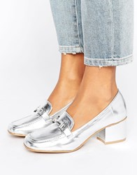 New Look Metal Detail Block Heel Loafer Silver