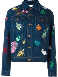 Ashish Confetti Embroidered Denim Jacket Blue