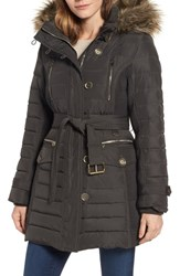 London Fog Belted Down Coat With Faux Fur Trim Army