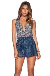 Gypsy 05 V Neck Romper Blue