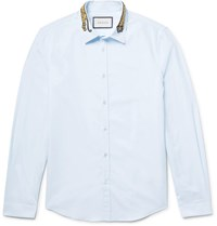 Gucci Slim Fit Embroidered Cotton Poplin Shirt Sky Blue