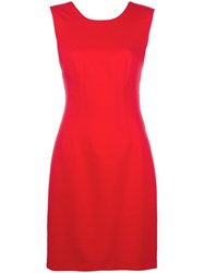 Versace V Back Jersey Dress Red