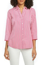 Foxcroft Mary Gingham Wrinkle Free Shirt Hibiscus