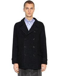 Giorgio Armani Double Breasted Wool Coat Navy