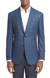 Men's Big And Tall Canali Classic Fit Windowpane Wool Sport Coat Navy Blue