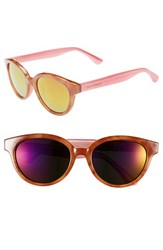 Women's Isaac Mizrahi New York 52Mm Retro Sunglasses Honey Tortoise Pink