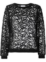 Si Jay Sequined Lace Top Black