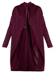 Issey Miyake Shawl Lapel Pleated Coat Purple