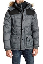 Ben Sherman Faux Fur Trim Hooded Quilted Jacket Gray
