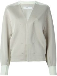 Toga Pulla Jersey V Neck Cardigan Nude And Neutrals