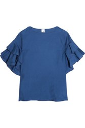 Iris And Ink Ruffle Trimmed Washed Silk Top Blue