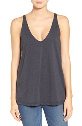 James Perse Women's Deep V Neck Cotton And Cashmere Tank Heather Navy