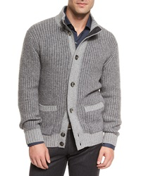 Ermenegildo Zegna Melange Cashmere Blend Button Sweater Gray