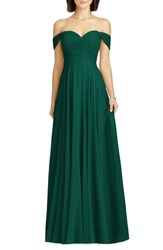 Dessy Collection Lux Off The Shoulder Chiffon Gown Hunter