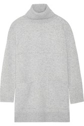 Proenza Schouler Oversized Stretch Cashmere Blend Turtleneck Sweater Light Gray