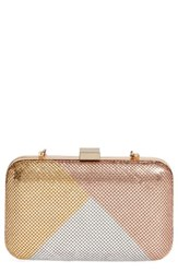 Whiting And Davis Color Block Mesh Box Clutch Metallic Gold Multi