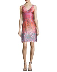 Nanette Lepore Sleeveless Jacquard Cocktail Shift Dress Size 10 Coral