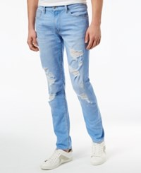 Guess Men's Slim Tapered Fit Ripped Stretch Jeans Light Indiglow Wash W Destroy