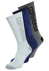 Converse 3 Pack Socks White Black Blue