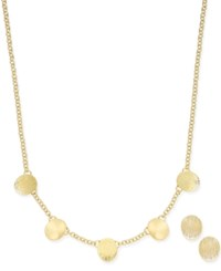 Charter Club Gold Tone Disc Detail Necklace And Stud Earrings Set Only At Macy's