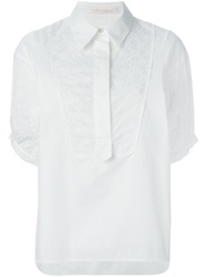 See By Chloe Embroidered Bib Shirt White