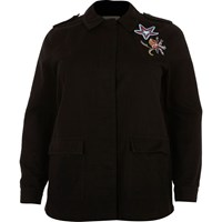River Island Womens Plus Black Embroidered Badge Utility Jacket