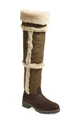 Tory Burch 'Talouse' Over The Knee Genuine Shearling And Leather Boot Women Coconut New Olive