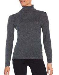 Lord And Taylor Merino Wool Turtleneck Sweater Graphite Heather