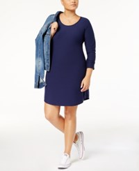 Planet Gold Trendy Plus Size Kylie Printed Dress Navy