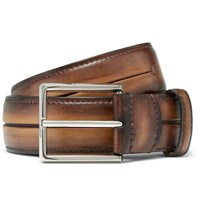 Berluti 3.5Cm Brown Burnished Leather Belt Brown