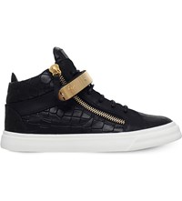 Giuseppe Zanotti Bangle Crocodile Embossed Leather Mid Top Trainers Black