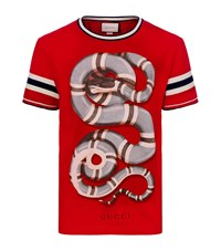 Gucci Snake Print T Shirt Male Red