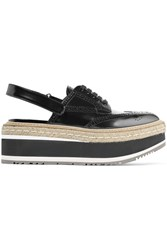 Prada Leather Platform Slingback Brogues Black