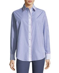 Piazza Sempione Two Way Striped Poplin Shirt With Contrast Piping Navy