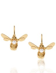 Alex Monroe Gold Flying Bee Hoop Earrings