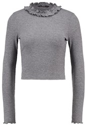 Only Onlida Long Sleeved Top Dark Grey Melange Mottled Dark Grey