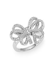 Effy Diamond And 14K White Gold Bow Ring