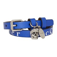 Alexander Mcqueen Navy And White Logo Double Wrap Skull Bracelet