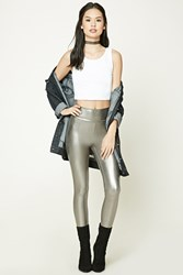 Forever 21 Metallic Knit Leggings Gunmetal