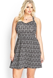 Forever 21 Tribal Print Fit And Flare Dress Black White
