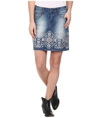 Stetson Denim Short Skirt W Emb On Front Back Blue Women's Skirt