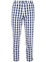 Love Moschino Gingham Check Trousers Blue
