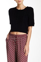 Cecico Cable Knit Short Sleeve Cropped Sweater Black
