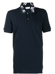 Alexander Mcqueen Embroidered Collar Polo Shirt Blue