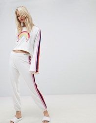 Juicy Couture By Coutureside Stripe Joggers Bleached Bone White